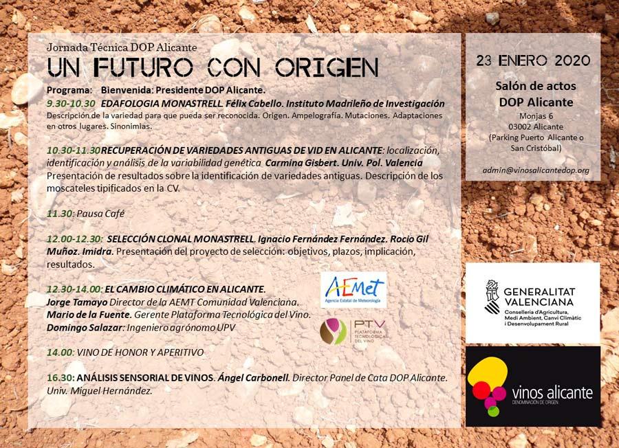 programa jornada vitícola de Vinos Alicante DOP 2020